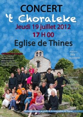 Affiche 't Choraleke concert Thines 2012