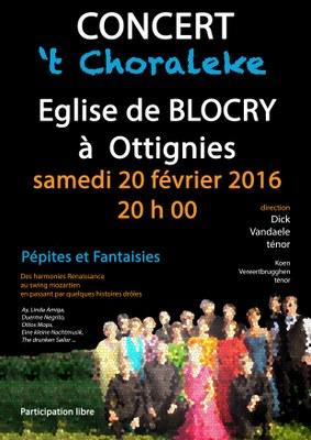 tchoraleke - concert Blocry 2016 affiche